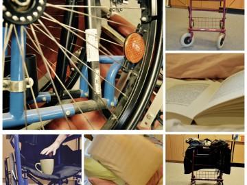 Bildcollage von Rollatoren und Rollstühlen