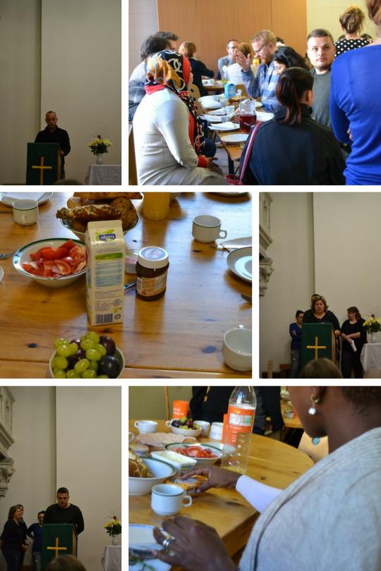 Colage aus 6 Bildern auf 3 Bildern sind Schüler zu sehen die eine Rede inter einer Kanzel halten auf den anderen 3 beim Frühstück essen.
